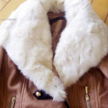 Faux Fur Collar Double Breasted Win..