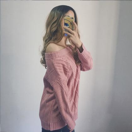 Off Shoulder Knitted Long Sleeve Pu..