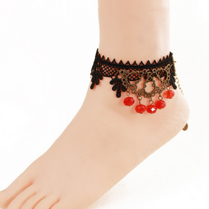 Crystal jewelry Anklets Black Lace ..