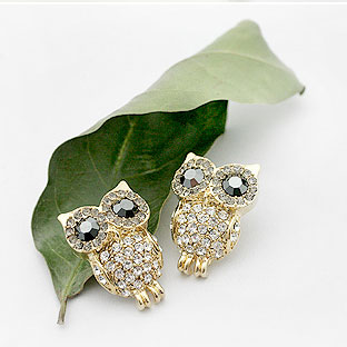 Fashion Shining Rhinestone Owl Earr..