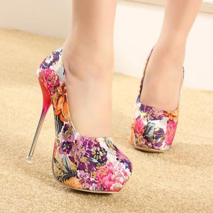 Gorgeous Floral Design High Heels S..