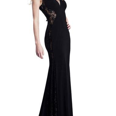 Gorgeous Black V Neck Lace And Chif..