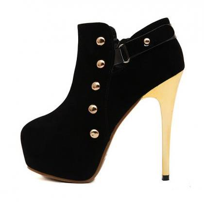 Black Rivet Design High Heel Boots