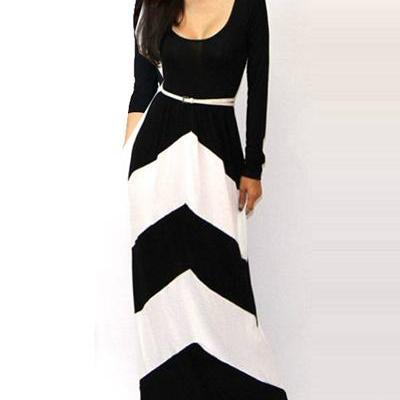 d17a4afe38f Black And White Floor Length Long Sleeve Dress on Luulla