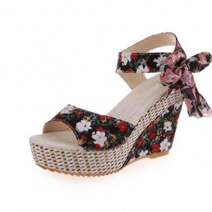 Pink Bow Accent Ankle Strap Low Chu..