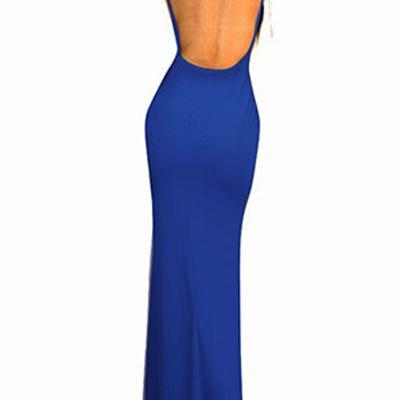Spaghetti Strap Backless Royal Blue..