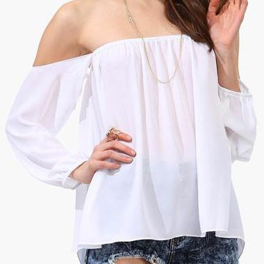 White Off-The-Shoulder Long Cuffed ..