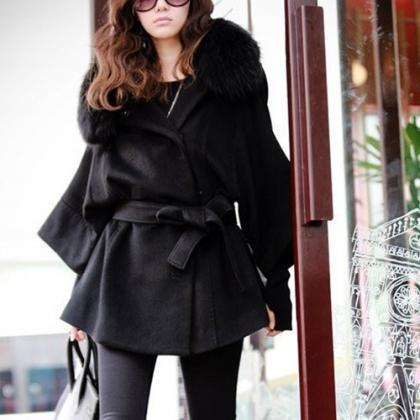 Fashion Fur Collar Solid Color Bat ..