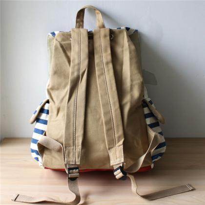 Stripes Printed Backpack With Doubl..