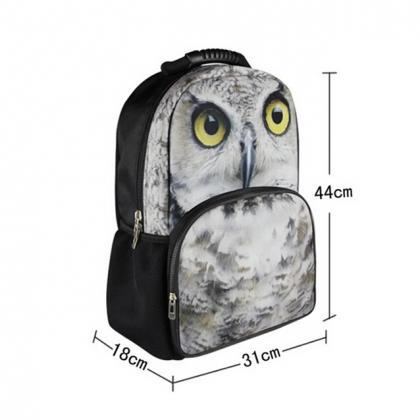 Owl Printed Backpack In Black