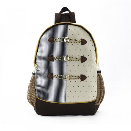 Stripes And Dots Printed Backpack W..