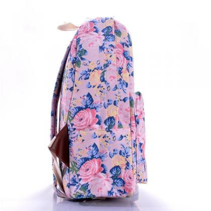 Floral Printed Purple Canvas Backpa..
