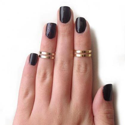 Love Double Knuckle Rings In Gold -..