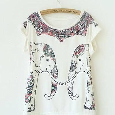 Symmetric Elephant Print Curling Sh..