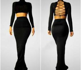 Sexy Two Pieces Blac..
