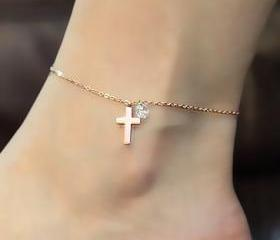 Cross Anklet With Rh..