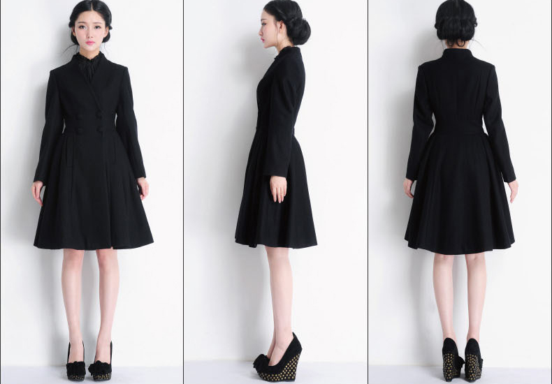 092586e182bcf Double Breasted Long Swing Black Coat Dress Wool Coat Jacket Winter  Outerwear on Luulla - Double