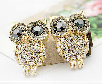 Fashion Shining Rhinestone Owl Earring & Studs