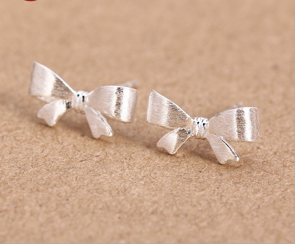 925 Sterling Silver Earrings Jewelry Fashion Small Fresh And Delicate Drawing Bow