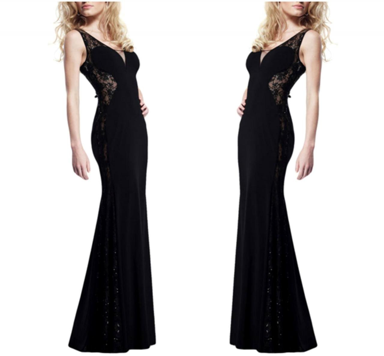 Gorgeous Black V Neck Lace And Chiffon Party Dress