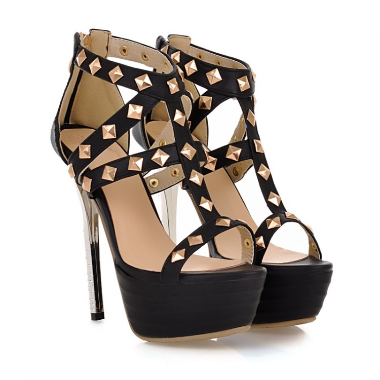 Rivet Embellished Black Gladiator Sandals