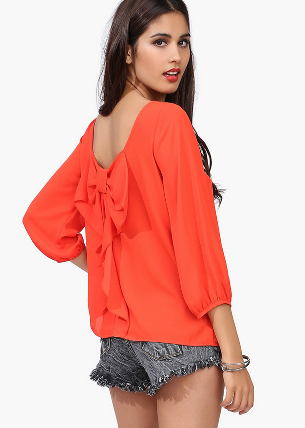 Europe and the female shirt Chiffon loose backless chiffon blouse-orange