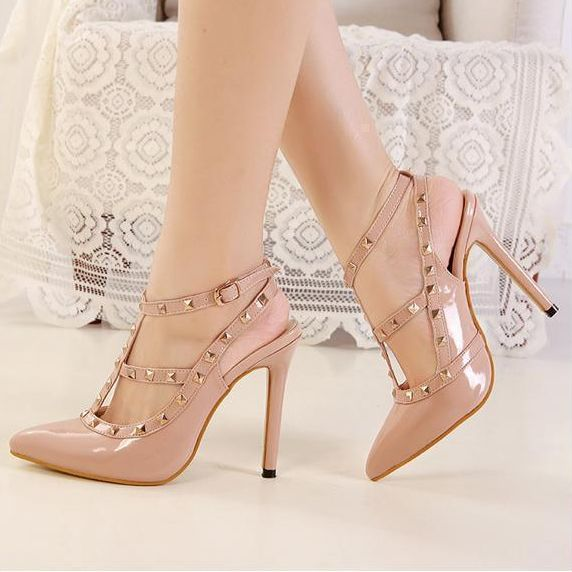 Nude Studded Pointed Toe High Heels Shoes on Luulla