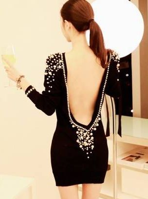 Backless Black Party Dress