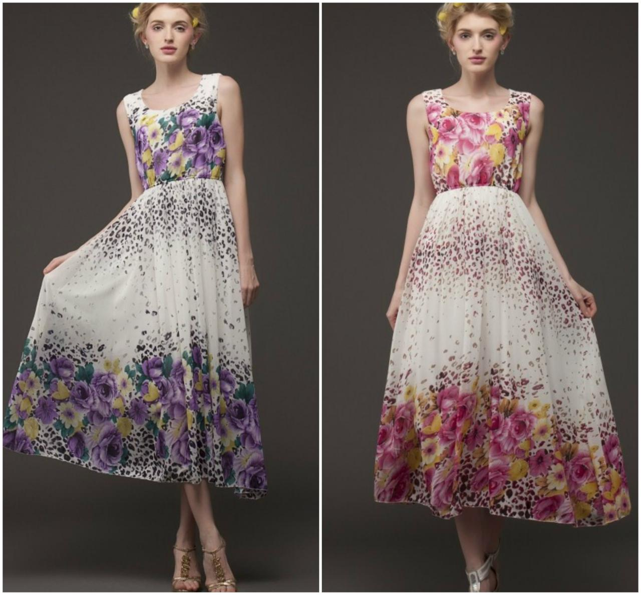 Beautiful Floral Design Maxi Dress In Blue, Purple And Rose