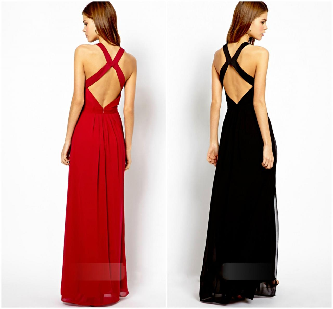 Sexy Long Backless Dress In Red And Black on Luulla