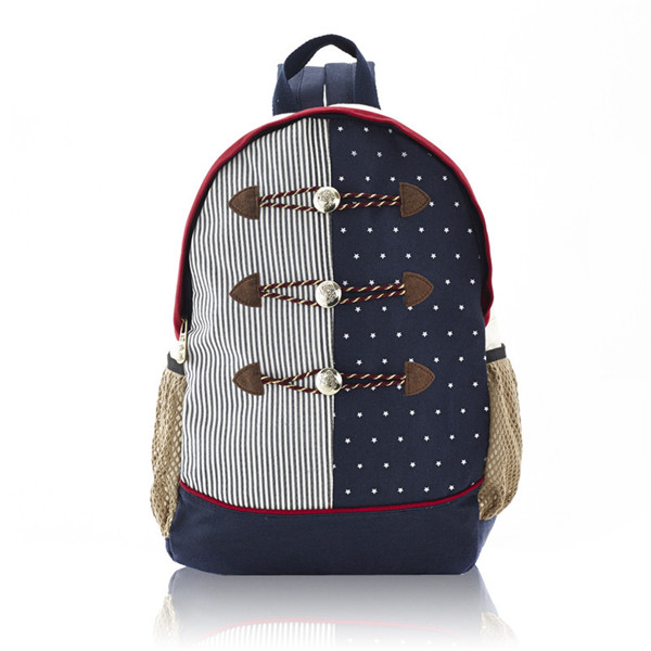 Stripes And Dots Printed Backpack With Button Detail