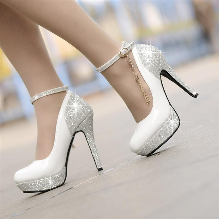 7addefb94f4 Gorgeous Ankle Strap Design Charmed Sparkly High Heels Shoes