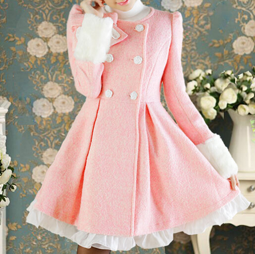 Pink Lace Bow Woolen Coat