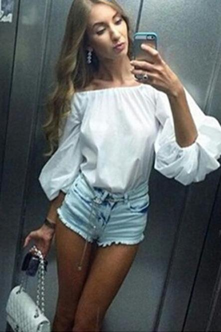 White Off SHoulder Bubble Sleeve Blouse