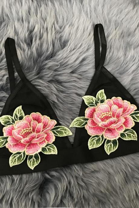 Sexy Embroidered Rose Flowers Lingerie Bra Bralette