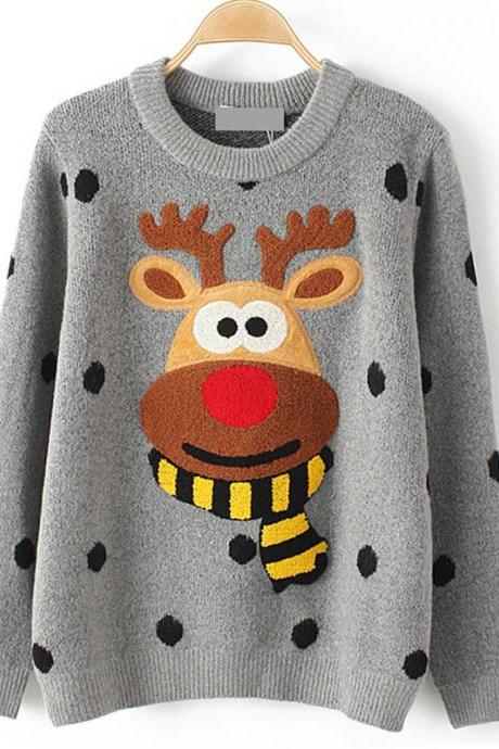 Deer Christmas Red Nose Rudolf Sweater