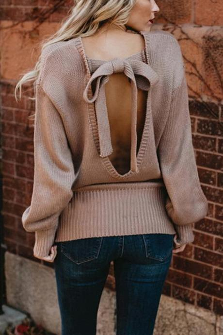 Back Bow Knot Knitted Pullover Sweater Top