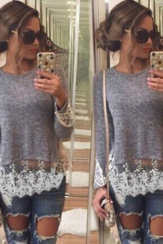 Sexy Lace Pure Color T-Shirt