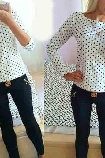 White or Black Polka Dot Print Long Sleeve Chiffon Shirt