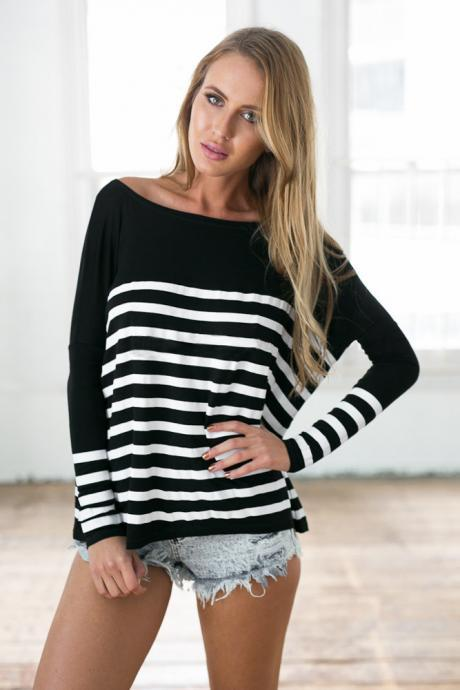 Fashion Splicing Stripes Round Neck T-Shirt