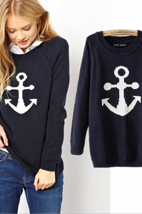 Fashion Anchor Knitting Sweater
