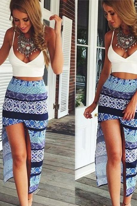 Sexy White Printing Irregular Dress Two-Piece