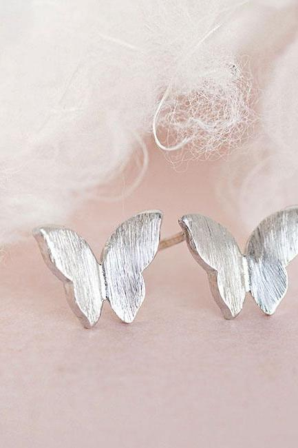 Silver Butterfly Stud Earrings, Tiny Wings Ear Posts, Whimsical