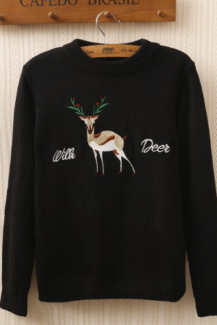 The deer embroidery loose sweaters