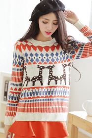 Reindeer long sleeve knit sweater