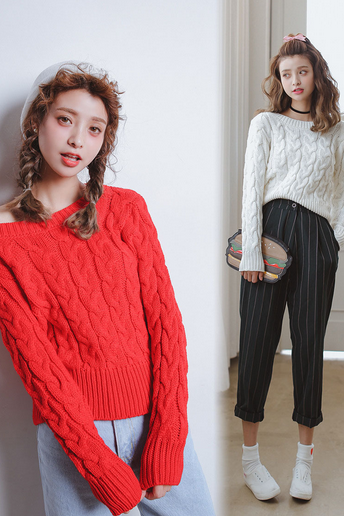 Cable Knit Bateau Neck Long Cuffed Sleeves Sweater
