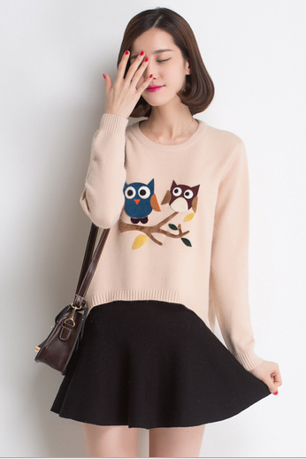 Round collar cartoon knitting wool sweater