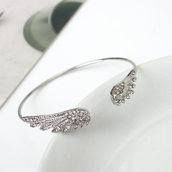 Silver Crystal Adjustable Angel Wings Bracelet