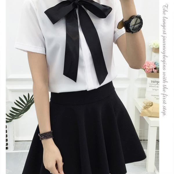 White Chiffon Blouse with Bow