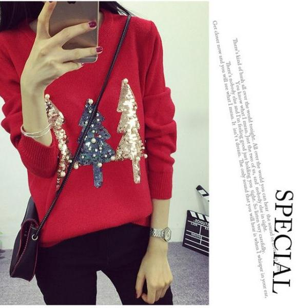 O Neck Sequined Women Pullover Sweater